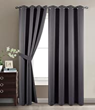 BETTER HOME USA Blackout Room Darkening Curtains Grommet Window Panel Drapes Dark Grey - 2 Panel Set 52x84 Inch