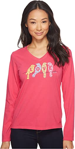 Life is Good - Love Birds Long Sleeve Crusher Vee