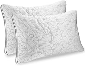 Nestl Set of 2 Gel Infused Memory Foam Pillow, Cooling Shredded Foam Pillow Hypoallergenic Bamboo Pillow with Adjustable Gel Fiber Washable Cover from Bamboo Derived Rayon, CertiPUR-US Approved, Queen