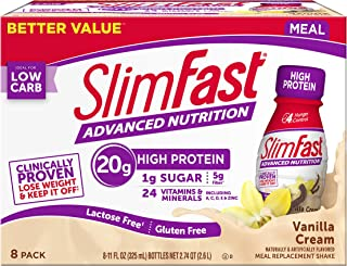 Slimfast Advanced Nutrition Vanilla Cream Shakes - Ready to Drink Meal Replacement - 20g Protein - 11 fl. oz. Bottle - 8 C...