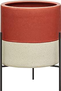Rivet Mid-Century Ceramic Planter with Stand, 17