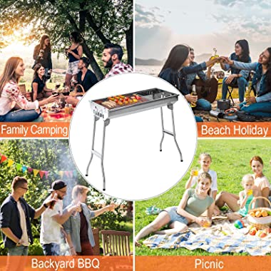 """Outsunny 28"""" Stainless Steel Small Portable Folding Charcoal BBQ Grill Set"""