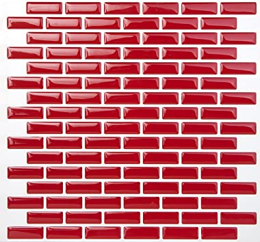 Tic Tac Tiles Peel and Stick Tile in Brick Rosered (10)