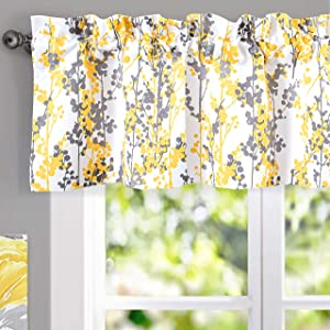 DriftAway Leah Abstract Floral Blossom Ink Painting Thermal Insulated Window Curtain Valance Rod Pocket 52 Inch by 14 Inch Plus 2 Inch Header Golden Yellow Gray 1 Pack