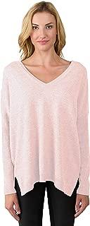 J CASHMERE Women's 100% Cashmere Slouchy Dolman Sleeve Double V Neck Sweater