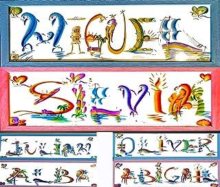 Nombres pintados Regalo Personalizado con MARCO 52 cm*22 cm* 1 cm Letra creativa Arcoiris decoración pared o puerta Person...