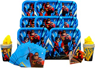 Incredibles 2 Party Pack Seats 8 - Napkins, Plates, Cups and Stickers - Incredibles 2 Party Supplies, Standard Party Pack