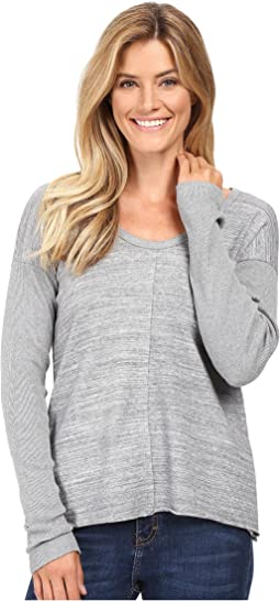 Heavenly Jersey Raw Edge Side Vented Pullover w/ Rib Sleeve