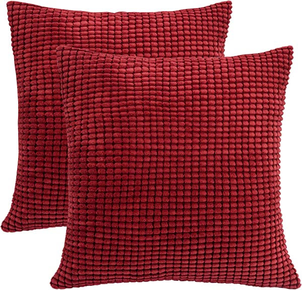 SUNOOMY Square Throw Toss Pillow Cushion Covers Cases For Couch Sofa Bed Chair Comfortable Supersoft Corduroy Corn Striped Burgundy 18 X18 45cm Set Of 2