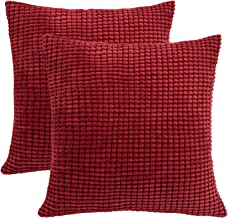 SUNOOMY Square Throw Toss Pillow Cushion Covers Cases for Couch Sofa Bed Chair, Comfortable Supersoft Corduroy Corn Striped (Burgundy, 18''X18'',45cm,Set of 2)
