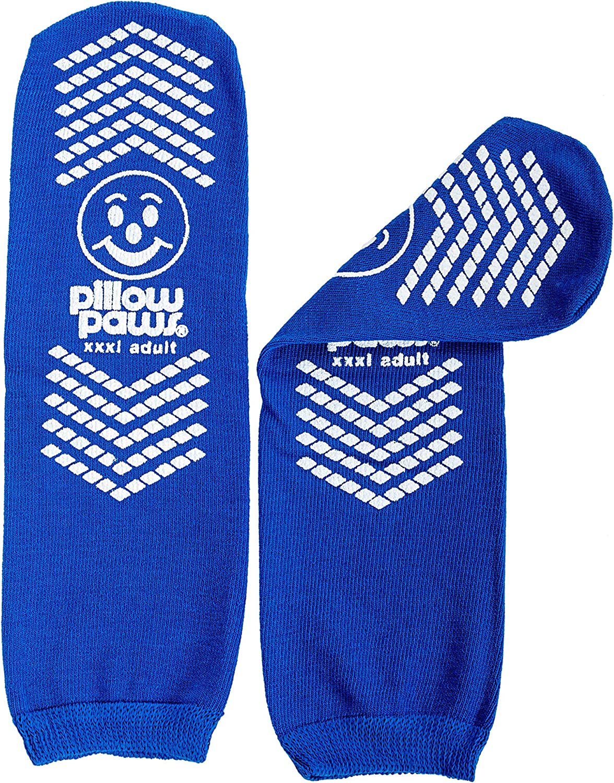 XXXL Blue Non-Skid Slip Stop Socks (Double Tread) (6 Pairs) (Extra Wide Bariatric)