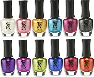 SXC Cosmetics Nail Polish Set, 12 Metallic Colors 15ml/0.5oz Full Size Nail Lacquer Gift lot