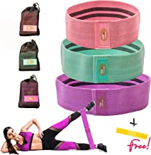 Booty Bands 3 Resistance Bands Set for Women - Hips Thighs Legs Shoulders Arms - Non-Slip Workout Exercise Bands. Heavy Duty Thick Fabric For Home Gym - Convenient Carrier Bag for Outdoor Training