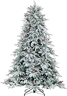 LordofXMAS Flocked Prelit Artificial Christmas Tree, 9 feet Pine, 800 LED Lights