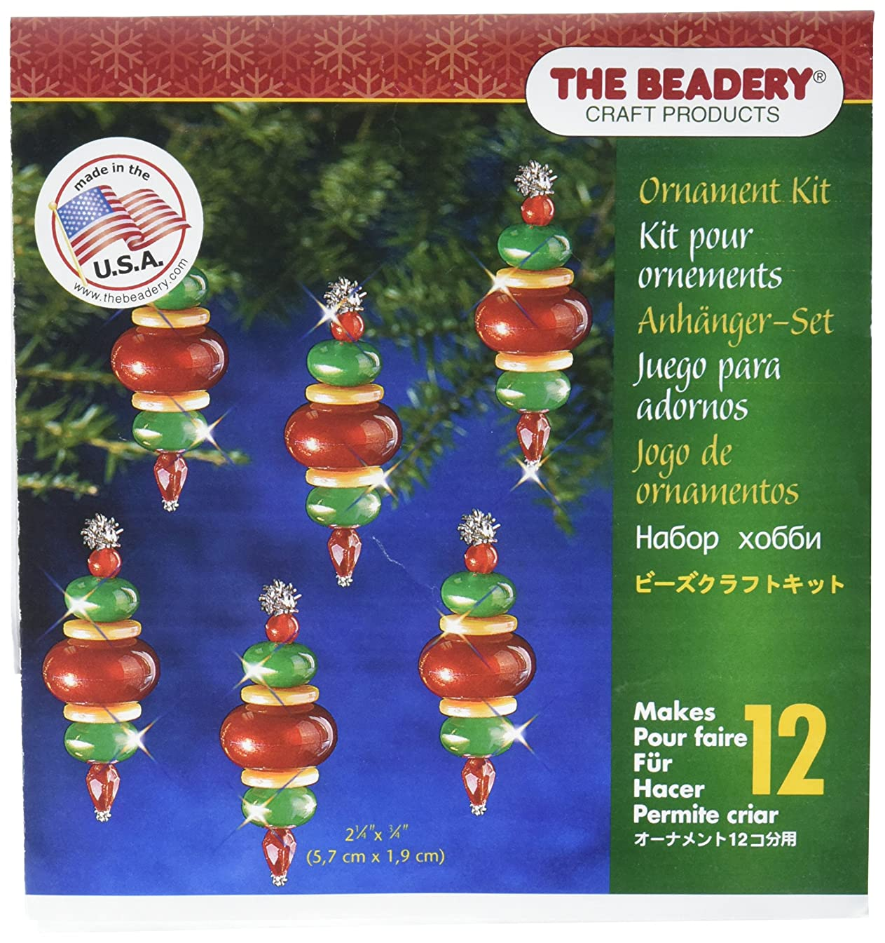 Beadery Holiday Beaded Ornament Kit, 2.25-Inch by 0.75-Inch, Victorian Baubles, Makes 12 Ornaments