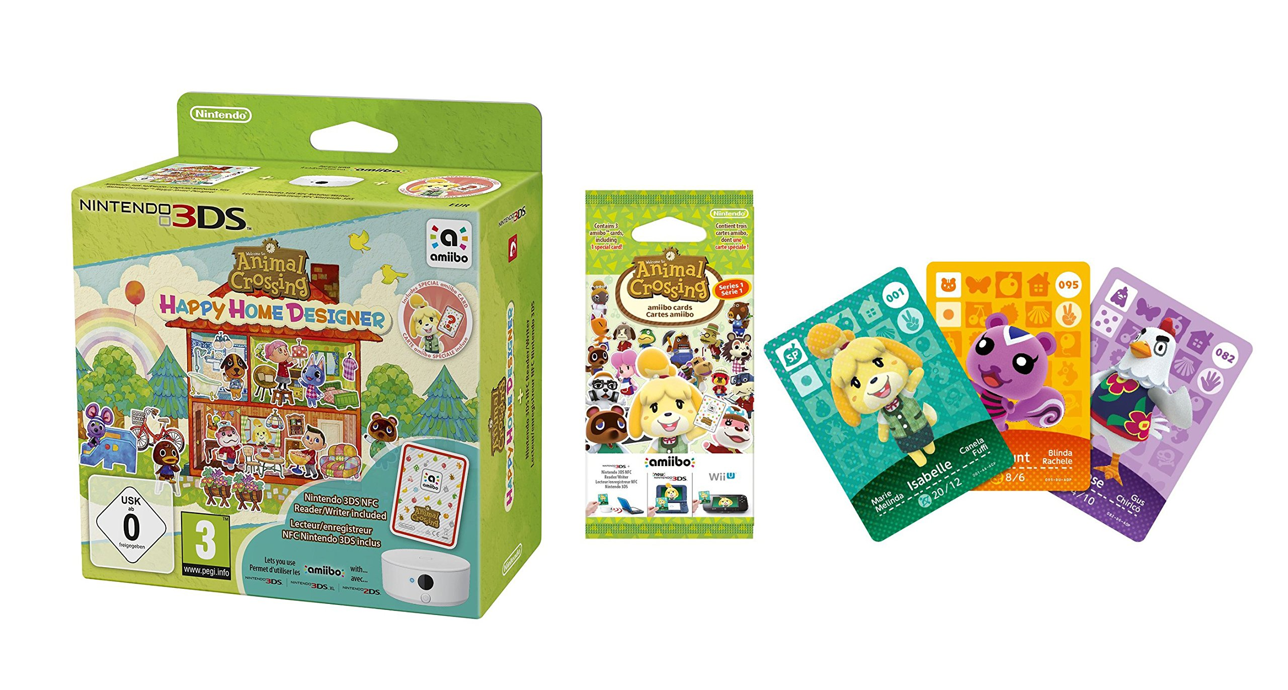 Animal Crossing: Happy Home Designer + 1 Tarjeta Amiibo + Lector ...