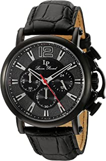 Lucien Piccard Men's 'Triomf' Quartz Stainless Steel and Leather  Watch, Color:Black (Model: LP-40018C-BB-01)