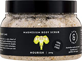 Caim & Able Magnesium Body Scrub 300g NOURISH - Coconut & Australian Desert Lime - Magnesium Sulphate Australian Made & Owned Birthday natural vegan cruelty free not tested on animals