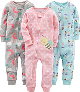 Simple Joys by Carter's Baby Girl's and Toddler 3-Pack Snug Fit Footless Cotton Pajamas