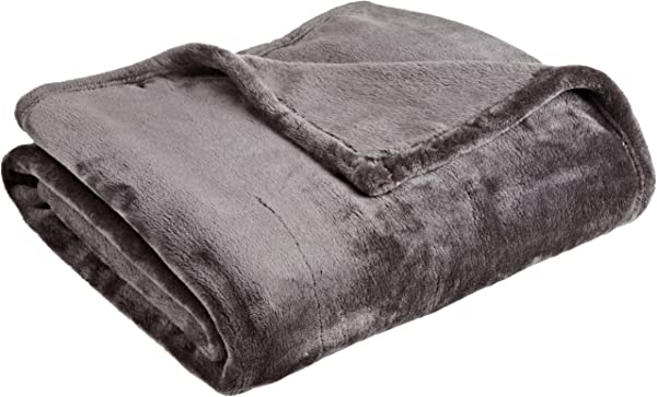 Northpoint Cashmere Plush Velvet Throw Charcoal