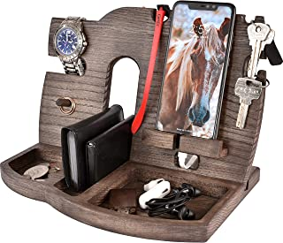 Cell Phone Stand Watch Holder. Men Wireless Device Dock Organizer Wood Mobile Base Nightstand Charging Docking Station. Women Accessories Wooden Storage. Funny Bed Side Caddy Valet Happy Birthday Gift
