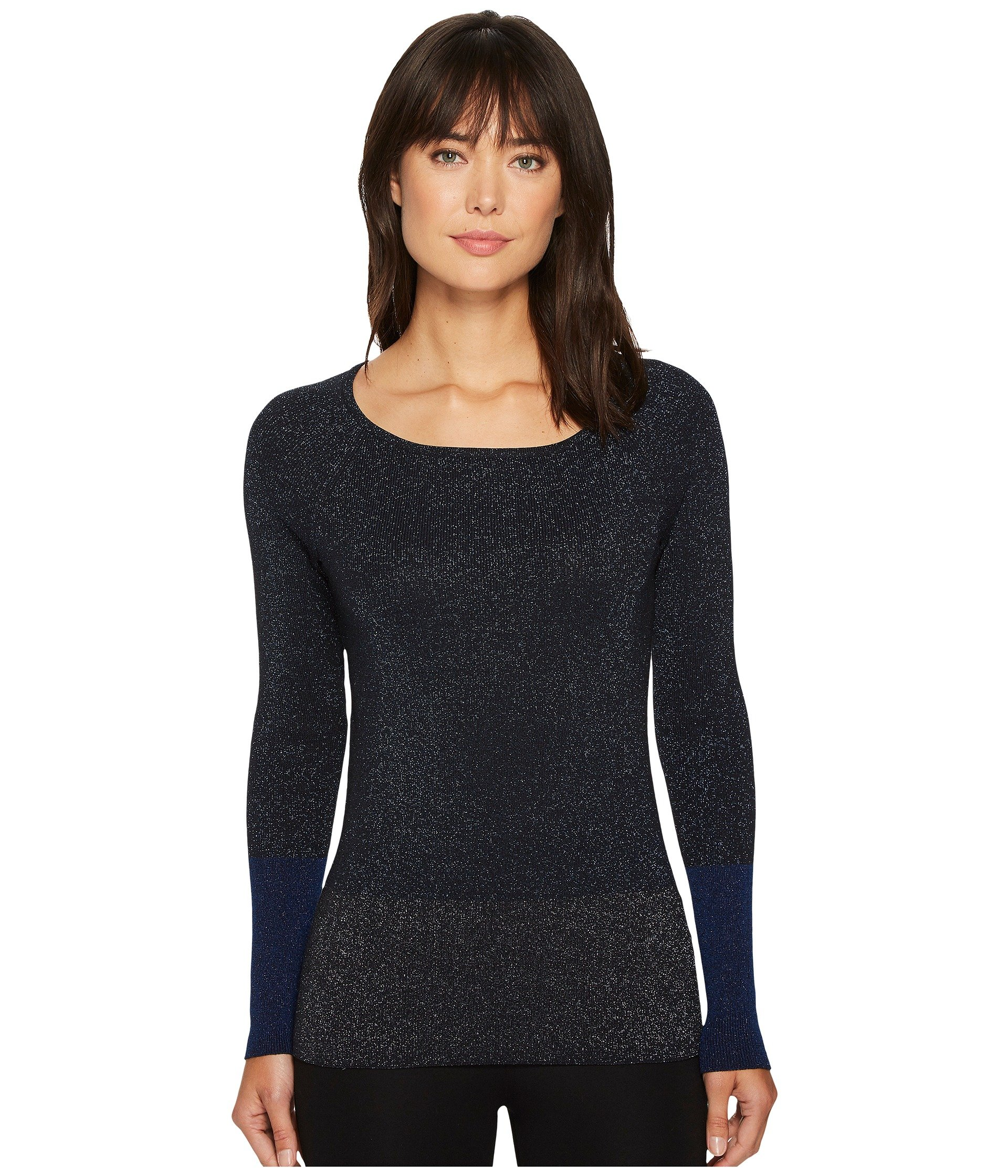 ELLEN TRACY Color Block Ribbed Sweater, Night Sky
