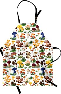 Ambesonne Mushroom Apron, Pattern with Types of Mushrooms Wild Species Organic Natural Food Garden Theme, Unisex Kitchen Bib with Adjustable Neck for Cooking Gardening, Adult Size, White Yellow