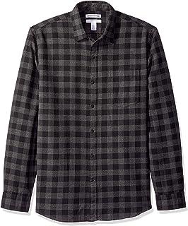 comprar comparacion Amazon Essentials - Camisa de franela a cuadros, manga larga, ajustada, para hombre
