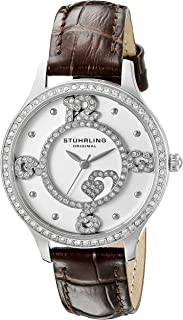 Stuhrling Original Women's Quartz Watch with Silver Dial Analogue Display and Dark Brown Leather Strap 760.01