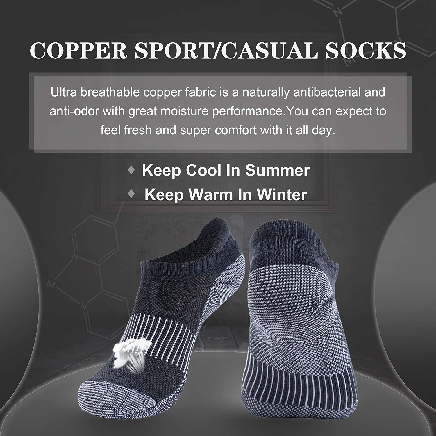 Three street Unisex Cushioned Sole Arch Support Athletic Ankle Performance Home Training Socks 3 Pairs Copper Socks