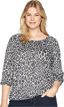 Plus Size Shadow Floral Peasant Top