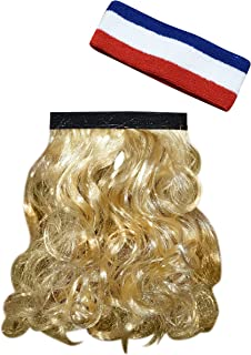 HandinHand Creations The Magic Mullet, Mullet Headband, Mullet Wig, Blonde, Attaches to Any Headwear