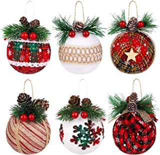 12 Pieces Christmas Burlap Tree Ornaments Hanging Decorations Christmas Sto M5C4