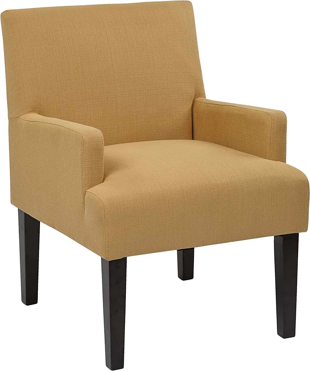 Office Star Main Street Upholstered Guest Chair with Espresso Finish Legs, Woven Wheat