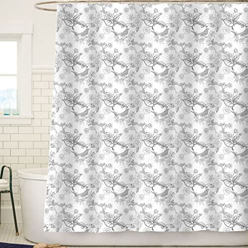 Sunlit Designer Elegant Line Floral And Birds Print Shower Curtain Flower With Leaves Art Design Pattern