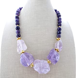 Collana con ametista viola e lavanda, girocollo con pietre naturali, collana donna, gioielli contemporanei, bijoux estate,...