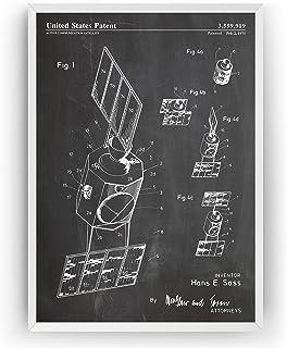 Communication Satellite 1971 - Patent Print NASA Outer Space Póster Con Diseños Patentes Decoración de Hogar Inventos Cart...