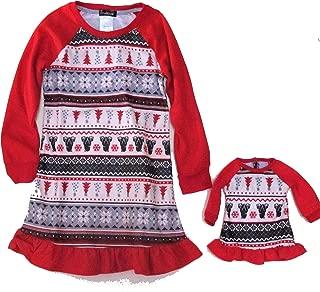 Cuddl Duds Jammies for Your Families Polar Bear Fairisle Girl's Nightgown & Doll Gown Set