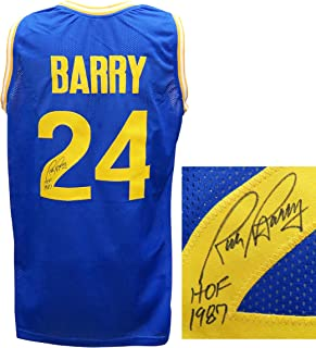 Rick Barry Signed Blue Custom Basketball Jersey w/HOF'87