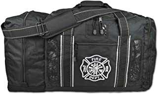 Newly Redesigned Lightning X Firefighter Fireman Quad-Vent Turnout Gear Bag w/Helmet Compartment, Mesh Vents & Maltese Cross for First Responder