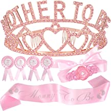 Baby Shower Decoration for Girl, Mother To Be Tiara Crown, Maternity Flower Belly Belt, Mother to Be Sash and Pin,Dad To B...