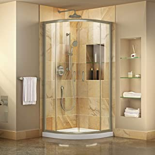 DreamLine Prime 33 in. x 74 3/4 in. Semi-Frameless Clear Glass Sliding Shower Enclosure in Brushed Nickel with White Base Kit, DL-6701-04CL