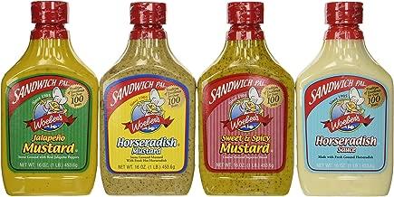 Woeber's Sandwich Pal 4 Flavor Variety Bundle: (1) Horseradish Mustard, (1) Sweet & Spicy Mustard, (1) Jalapeno Mustard & (1) Horseradish Sauce, 16 Oz. Ea.