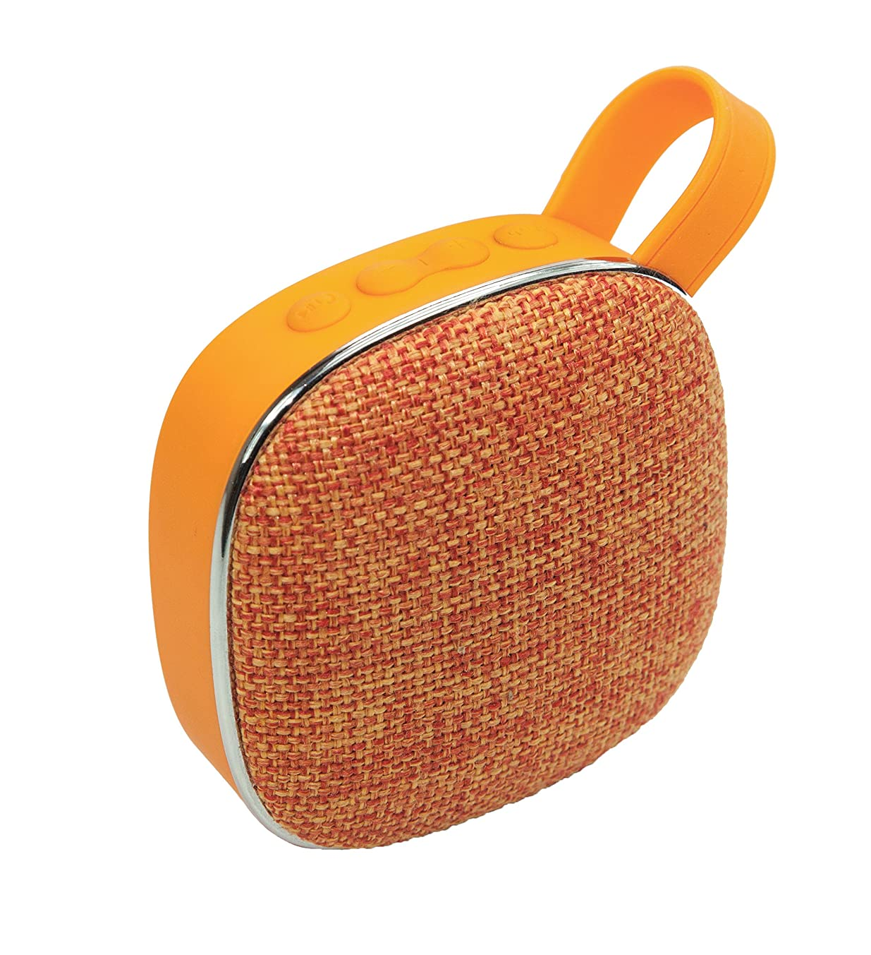 Portable Wireless Bluetooth 3W Speaker with FM Radio, Built-in Microphone, High Fidelity Sound, Powerful Bass, Micro SD Playback, USB Charging, Hands Free Calls, Cloth Cover, Carry Strap (Orange)