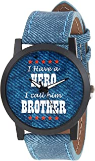 Relish Mens Boys Denim Slim Analog Display Quartz Watch for Brothers   RE-S8103BD   Gift for Brother
