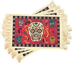 El Paso Saddleblanket Dia de Los Muertos Placemats Set of 4 (Sugar Skull 1)