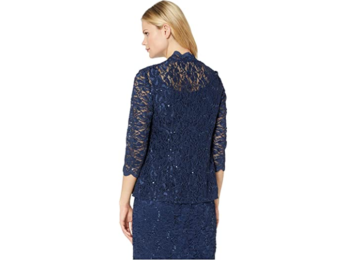 Alex Evenings Tea Length All Over Sequin Lace Jacket Dress - Women Clothing