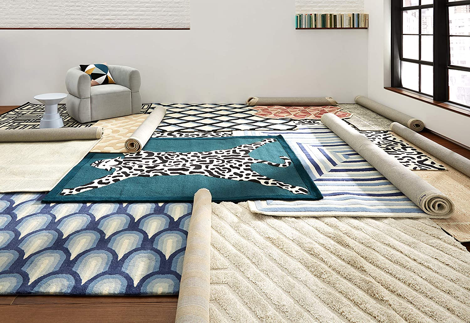 Now House by Jonathan Adler Maze Collection Area Rug, 2'3  X 7'2 , Ivory and Black