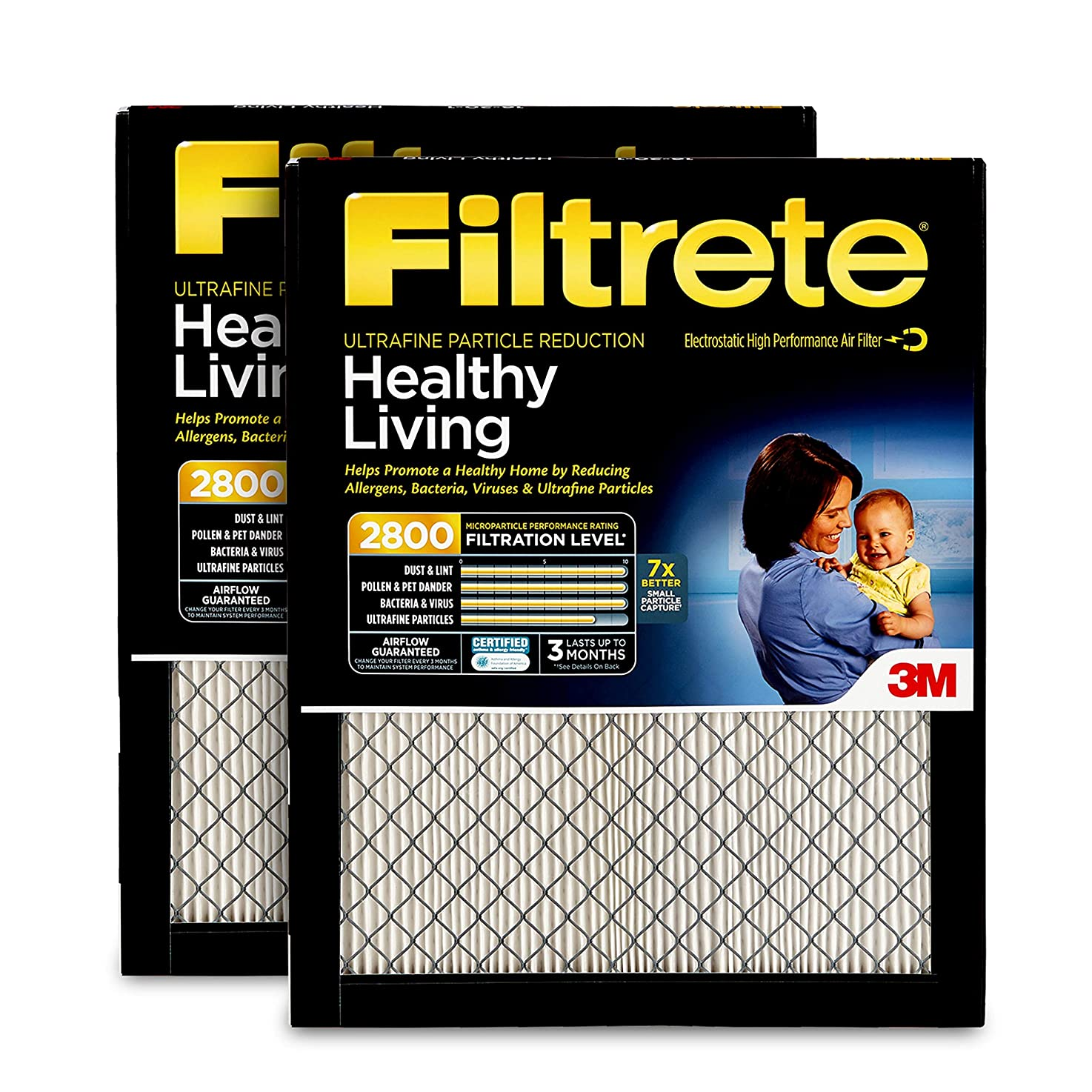 Filtrete 16x25x1, AC Furnace Air Filter, MPR 2800, Healthy Living Ultrafine Particle Reduction, 2-Pack gefizuclyhotf3