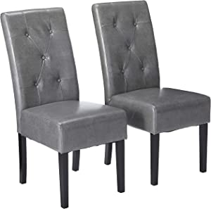 Christopher Knight Home Alexander Grey Leather Dining Chairs (Set of 2)